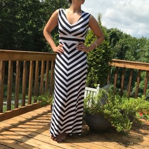 NWT Black and white stripe maxi dress long